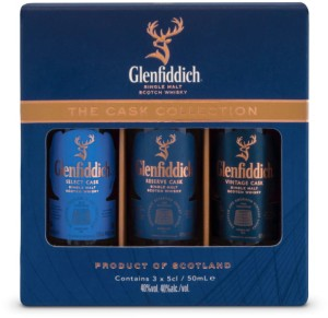 Zestaw miniaturek whisky Glenfiddich Cask Collection 40%  3x0,05l
