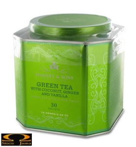 Herbata Harney & Sons- Green tea with coconut, ginger and vanilla, puszka piramidki 30 szt.